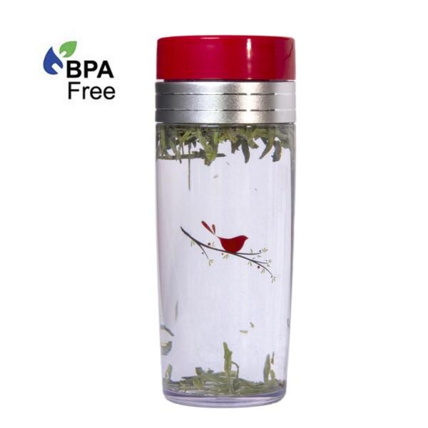 13oz. Red Bird Tea Traveler, BPA Free, with Tea