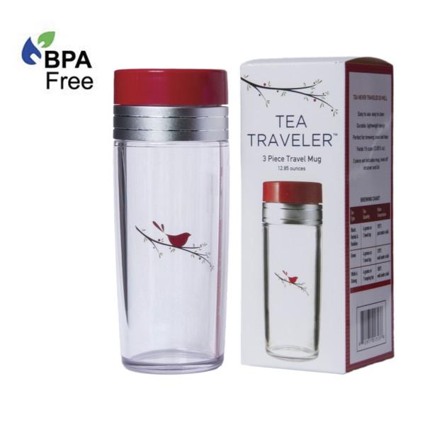 13oz. Red Bird Tea Traveler, BPA Free, with Retail Box