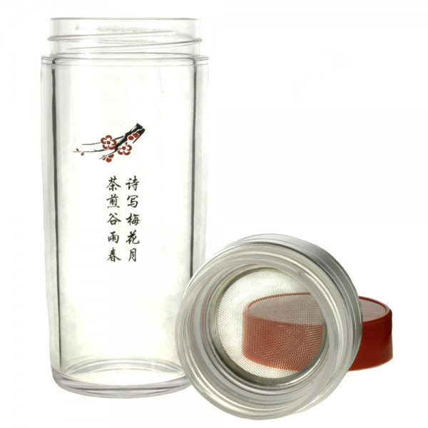 13oz. Chinese Character Tea Traveler, BPA Free, 3 Pieces, Body, Screen, Lid