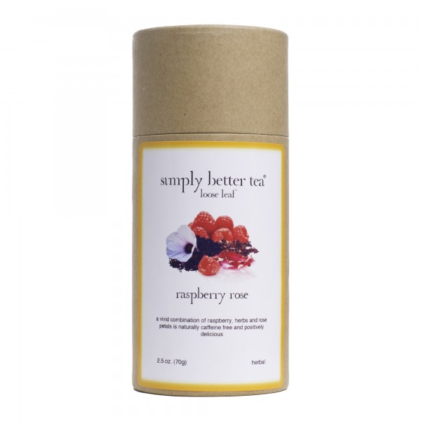 Raspberry Rose Petal Herbal Blend, Simply Better Tea Canister, Loose Lea