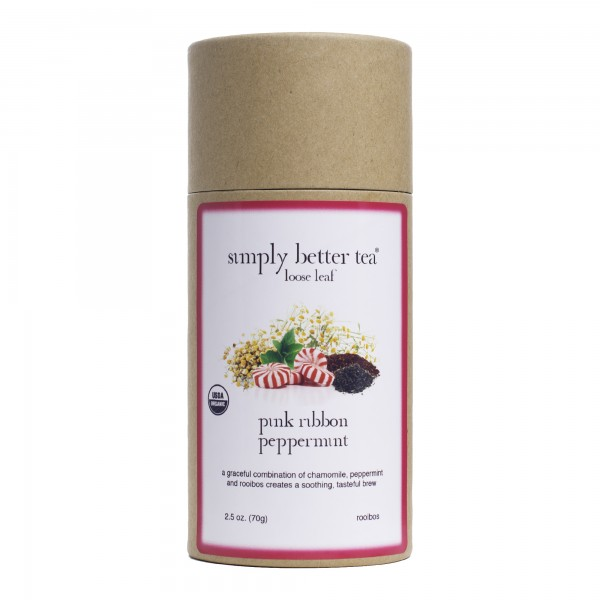 Pink Ribbon Peppermint Organic Rooibos Tea Loose Leaf Canister