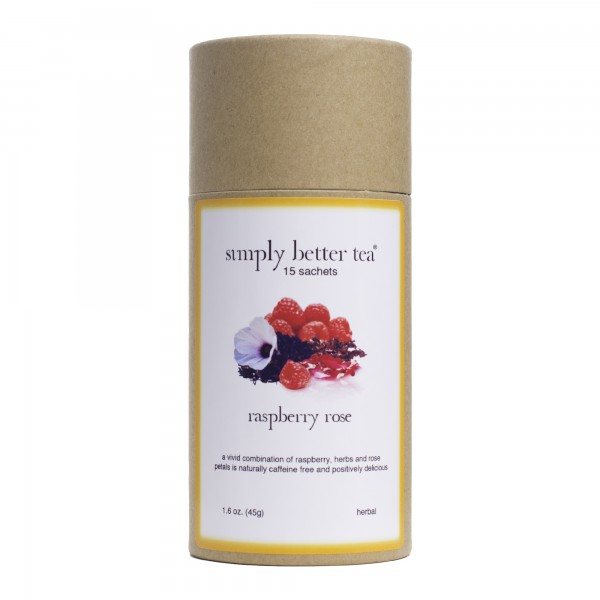 Raspberry Rose Petal Herbal Blend, Simply Better Tea Canister, Sachet